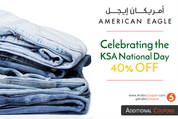 Starting from today 40% OFF from American Eagle on the occasion of the Saudi National Day