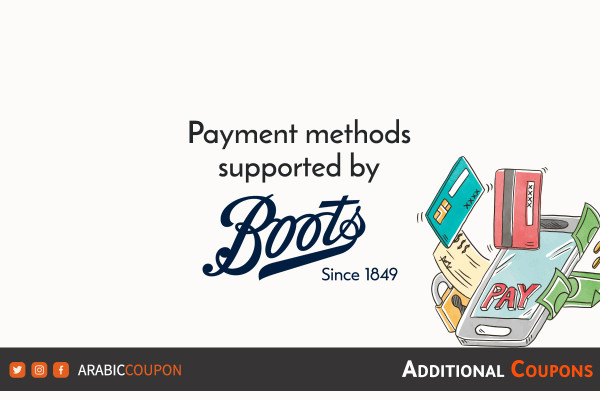 Payment methods available for shopping online from Boots with coupons